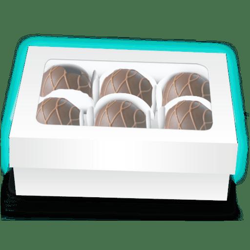 Caixa de Bombom 06 forminhas tampa acetato Branco c/ 10 uni