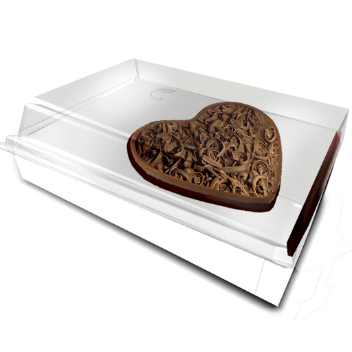 Caixa Tampa  acetato 500 g- Berço coração Branco c/ 10 uni