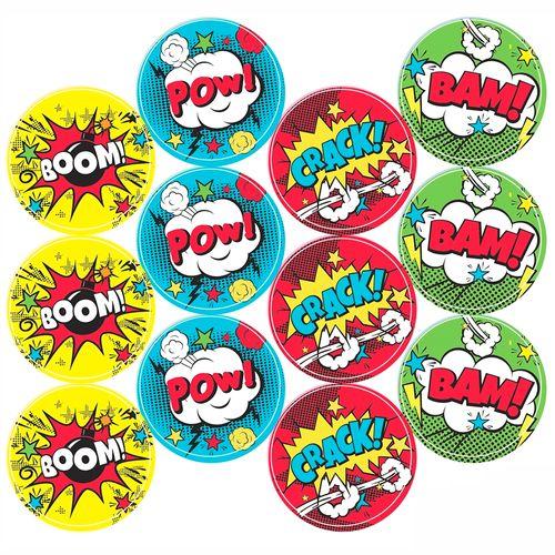 Adesivo-decorativo-para-festa-25cm---Comic-Heroes---36-unidades