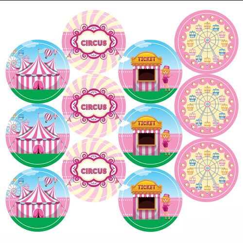 Adesivo-decorativo-para-festa-25cm---Circo-Rosa---36-unidades